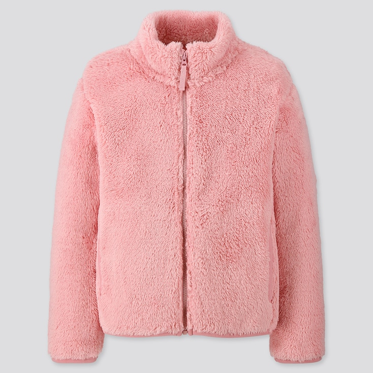 KIDS FLUFFY YARN FLEECE LONG-SLEEVE JACKET, PINK, large
