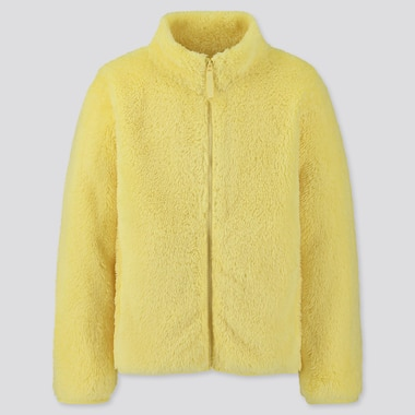 KIDS FLUFFY YARN FLEECE LONG-SLEEVE JACKET, YELLOW, medium