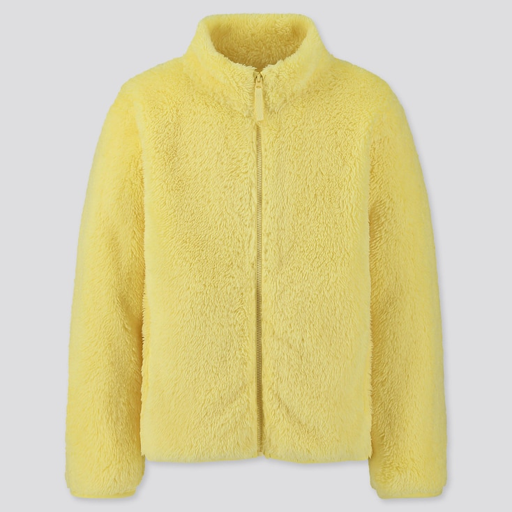 Kids Fluffy Yarn Fleece Long-Sleeve Jacket, Yellow, Large