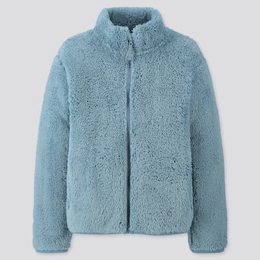 KIDS FLUFFY YARN FLEECE LONG-SLEEVE JACKET, GREEN, medium