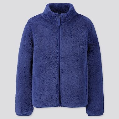 KIDS FLUFFY YARN FLEECE LONG-SLEEVE JACKET, BLUE, medium