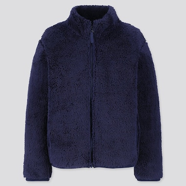KIDS FLUFFY YARN FLEECE LONG-SLEEVE JACKET, NAVY, medium