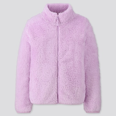 KIDS FLUFFY YARN FLEECE LONG-SLEEVE JACKET, PURPLE, medium