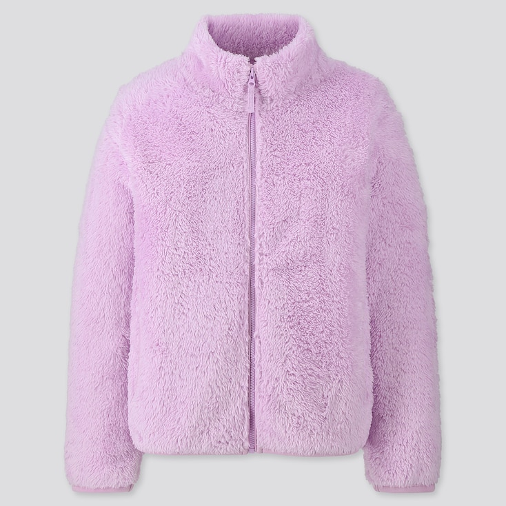 Kids Fluffy Yarn Fleece Long-Sleeve Jacket, Purple, Large