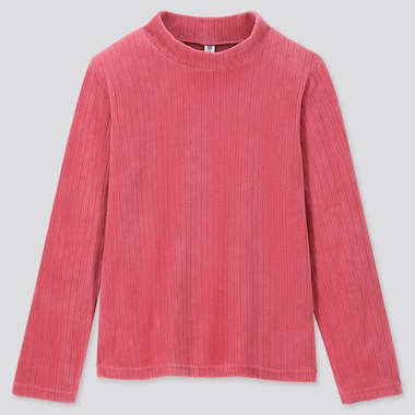 KIDS STRETCH FLEECE RIBBED HIGH-NECK T-SHIRT, PINK, medium