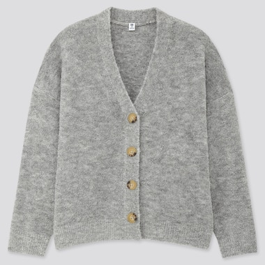 GIRLS BOUCLE YARN LONG-SLEEVE CARDIGAN, GRAY, medium