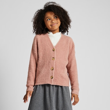 GIRLS BOUCLE YARN LONG-SLEEVE CARDIGAN, PINK, medium