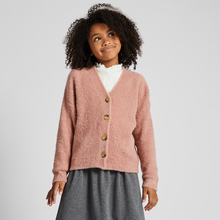 GIRLS BOUCLE YARN LONG-SLEEVE CARDIGAN, PINK, large