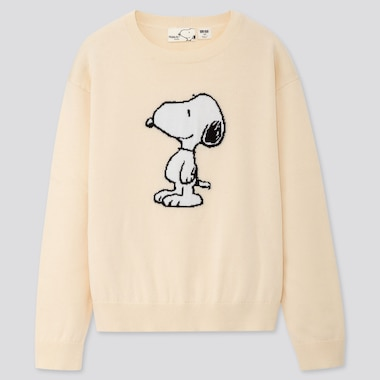 KIDS PEANUTS CREW NECK LONG-SLEEVE SWEATER, OFF WHITE, medium