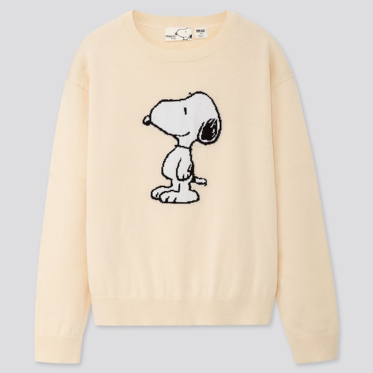 KIDS PEANUTS CREW NECK LONG-SLEEVE SWEATER, OFF WHITE, large
