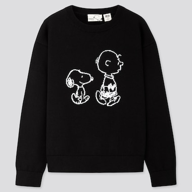 KIDS PEANUTS CREW NECK LONG-SLEEVE SWEATER, BLACK, medium