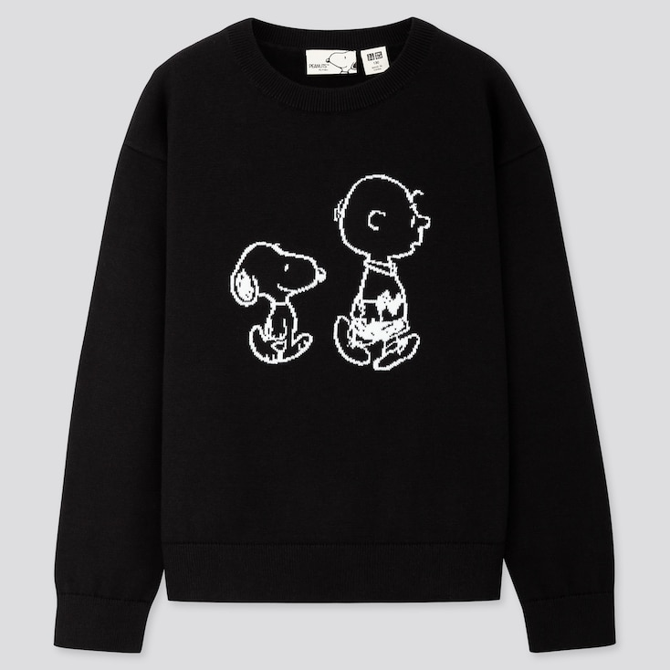 KIDS PEANUTS CREW NECK LONG-SLEEVE SWEATER, BLACK, large