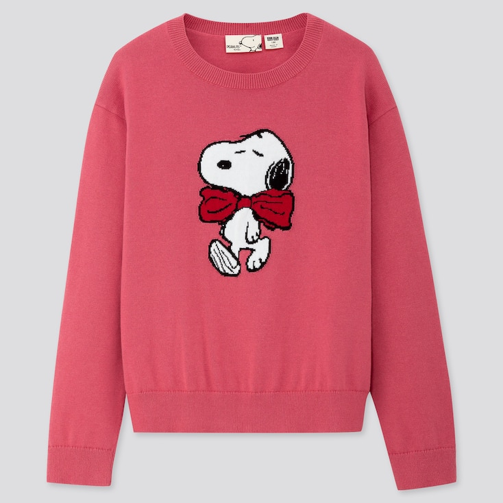 KIDS PEANUTS CREW NECK LONG-SLEEVE SWEATER, PINK, large