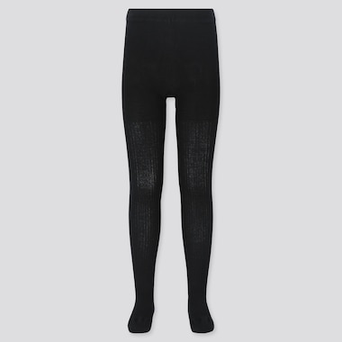 GIRLS KNITTED TIGHTS, BLACK, medium