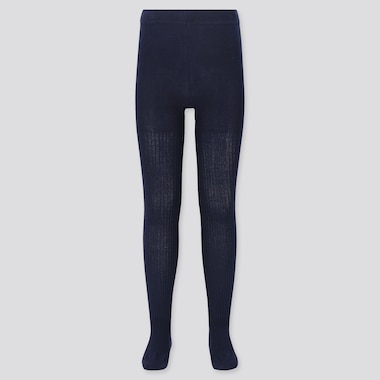 Girls Knitted Tights, Navy, Medium
