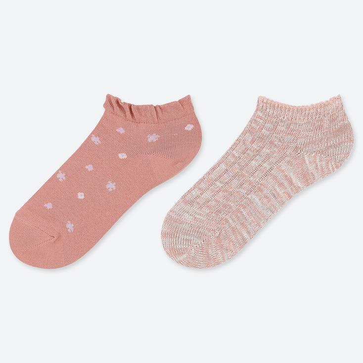 Girls Short Socks (Set Of 2), Pink, Large