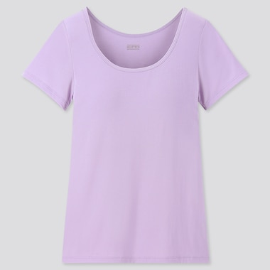 GIRLS HEATTECH BRA TOP T-SHIRT, LIGHT PURPLE, medium