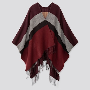 2-WAY MULTI-COLOR BLOCK STOLE, WINE, medium
