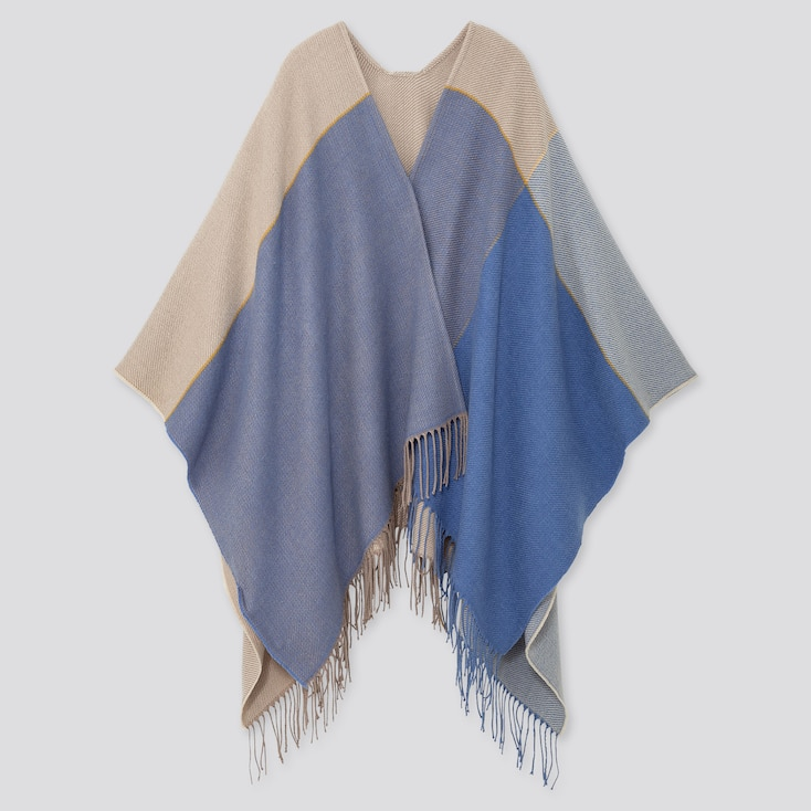 2-WAY COLOR BLOCK STOLE, BLUE, large