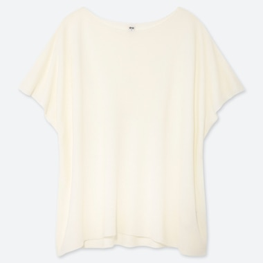 WOMEN OVERSIZE ROUND NECK SHORT-SLEEVE SWEATER, OFF WHITE, medium