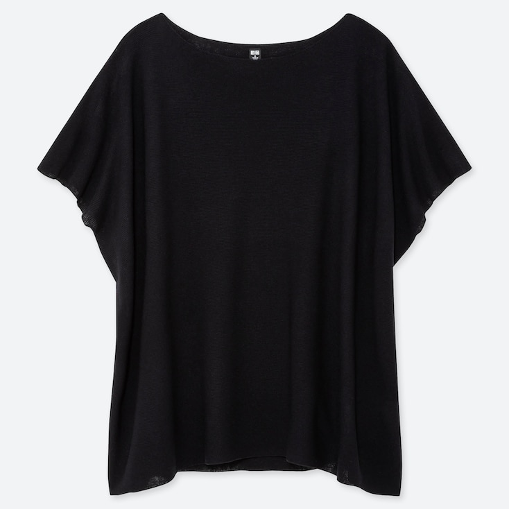 WOMEN OVERSIZED ROUND NECK SHORT-SLEEVE SWEATER, BLACK, large