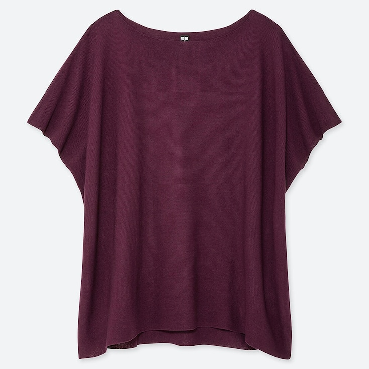 WOMEN OVERSIZED ROUND NECK SHORT-SLEEVE SWEATER, WINE, large