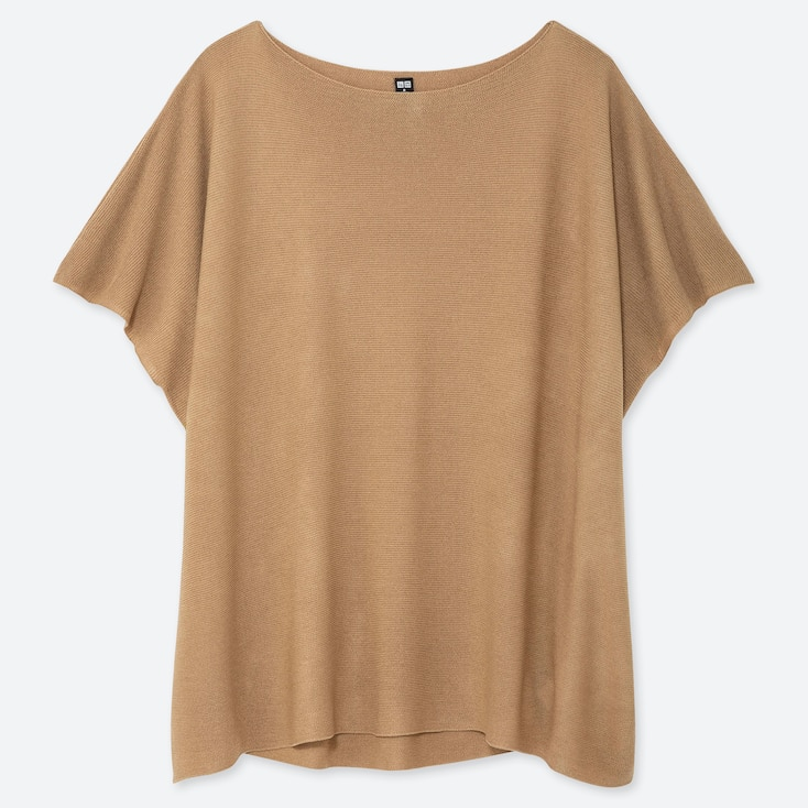 WOMEN OVERSIZED ROUND NECK SHORT-SLEEVE SWEATER, BEIGE, large