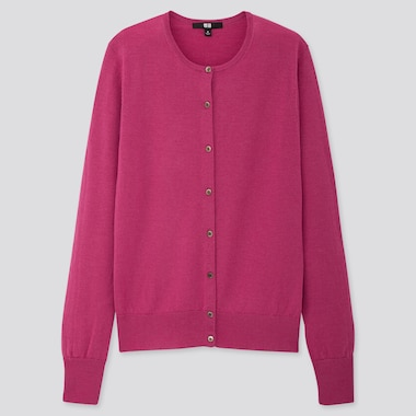 WOMEN EXTRA FINE MERINO CREW NECK CARDIGAN, PINK, medium