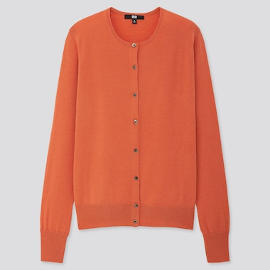 WOMEN EXTRA FINE MERINO CREW NECK CARDIGAN, ORANGE, medium
