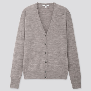 WOMEN EXTRA FINE MERINO WOOL V NECK CARDIGAN