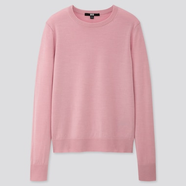 WOMEN EXTRA FINE MERINO CREW NECK SWEATER, PINK, medium