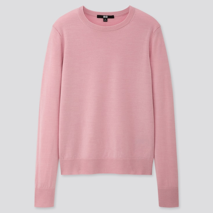 Women Extra Fine Merino Crew Neck Sweater, Pink, Large