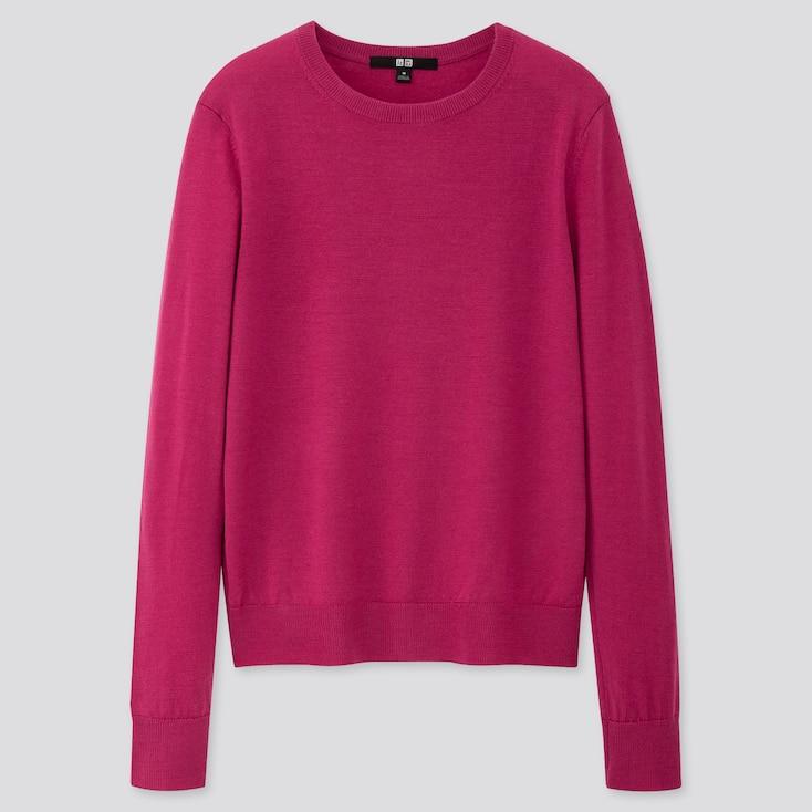 Women Extra Fine Merino Crew Neck Sweater, Pink, Large