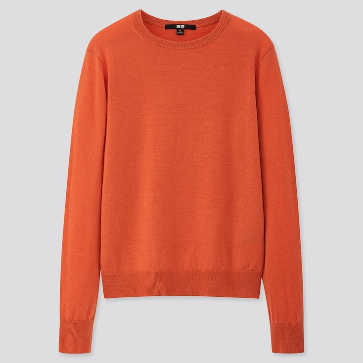 WOMEN EXTRA FINE MERINO CREW NECK SWEATER, ORANGE, large