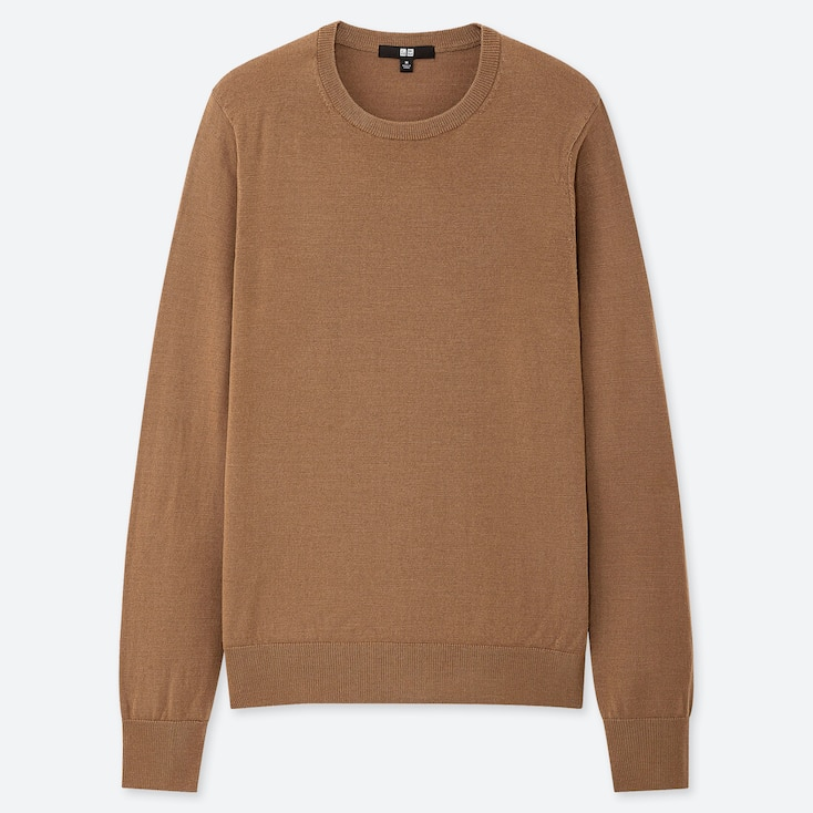 Women Extra Fine Merino Crew Neck Sweater, Brown, Large