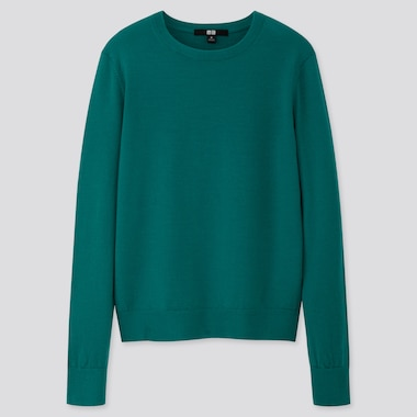 WOMEN EXTRA FINE MERINO CREW NECK SWEATER, GREEN, medium