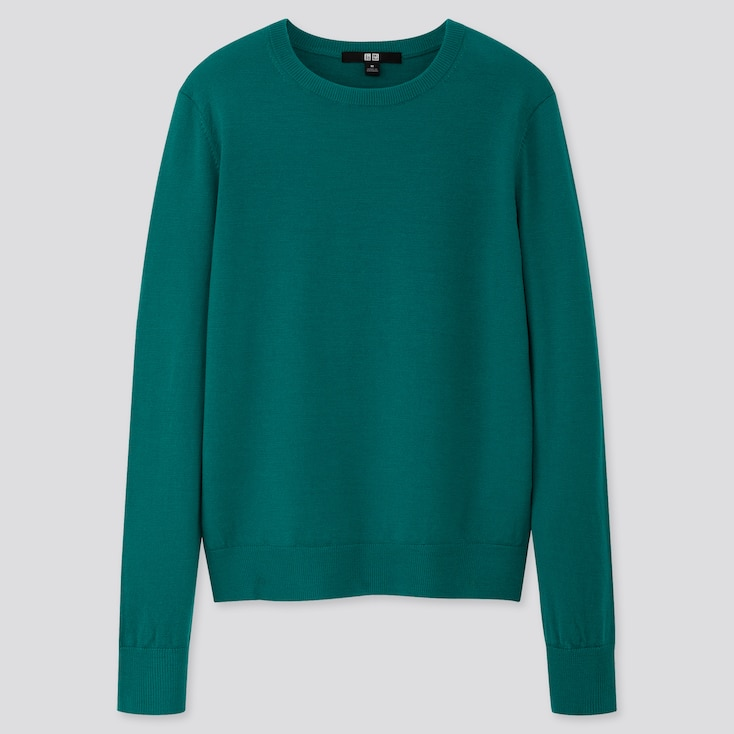 WOMEN EXTRA FINE MERINO CREW NECK SWEATER, GREEN, large
