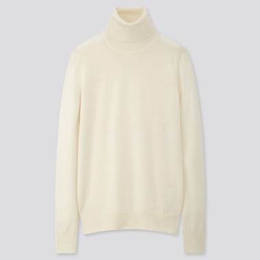 WOMEN EXTRA FINE MERINO TURTLENECK SWEATER, OFF WHITE, medium