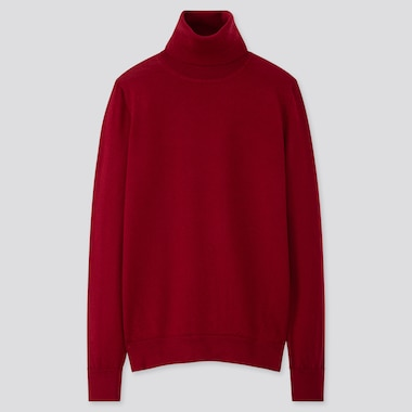 WOMEN EXTRA FINE MERINO TURTLENECK SWEATER, RED, medium