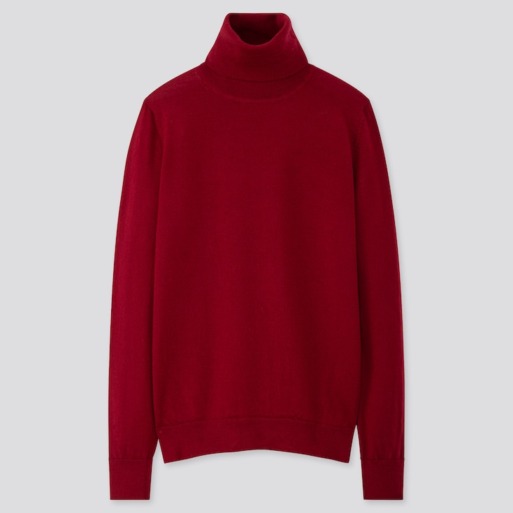 WOMEN EXTRA FINE MERINO TURTLENECK SWEATER, RED, large