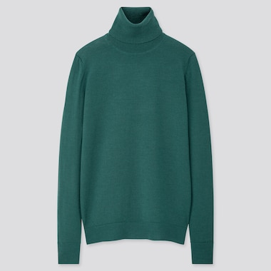 WOMEN EXTRA FINE MERINO TURTLENECK SWEATER, GREEN, medium