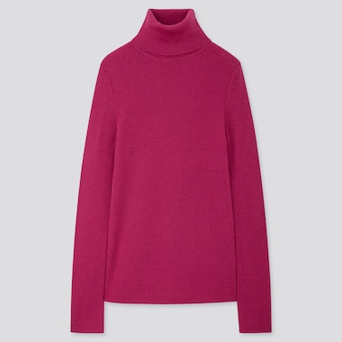 WOMEN EXTRA FINE MERINO RIBBED TURTLENECK SWEATER, PINK, medium
