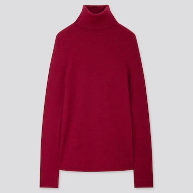 WOMEN EXTRA FINE MERINO RIBBED TURTLENECK SWEATER, RED, medium