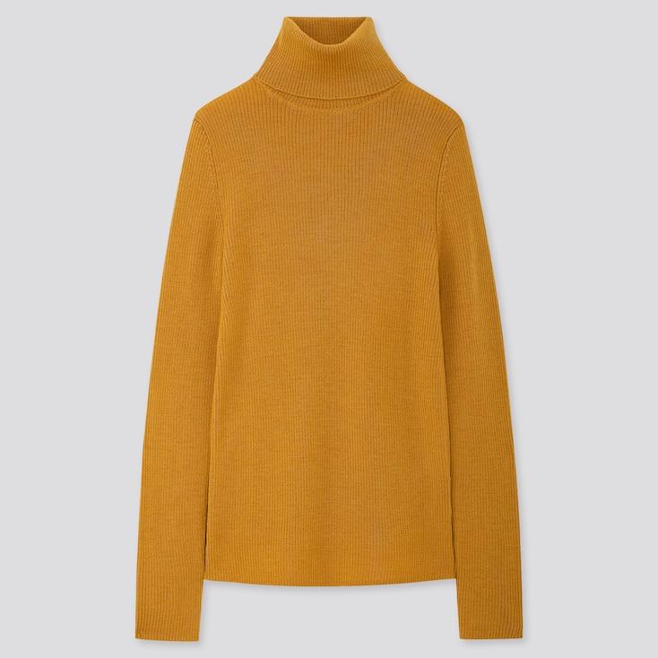 Women Extra Fine Merino Ribbed Turtleneck Sweater, Yellow, Large