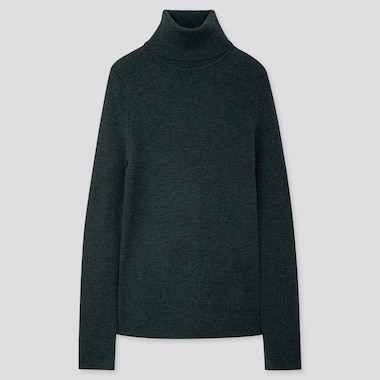 WOMEN EXTRA FINE MERINO RIBBED TURTLENECK SWEATER, DARK GREEN, medium