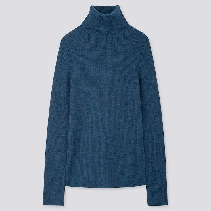 WOMEN EXTRA FINE MERINO RIBBED TURTLENECK SWEATER, BLUE, large