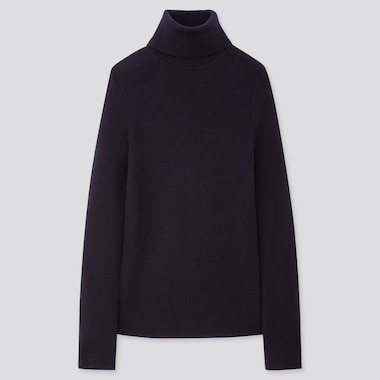 Women Extra Fine Merino Ribbed Turtleneck Sweater, Navy, Medium