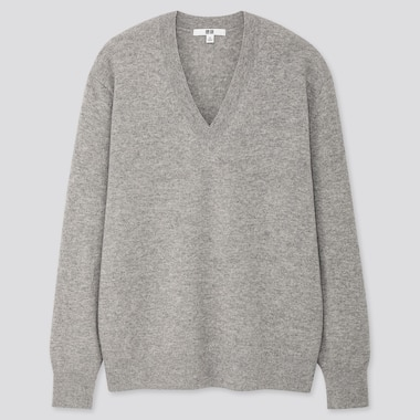 Women Cashmere V-Neck Sweater, Light Gray, Medium