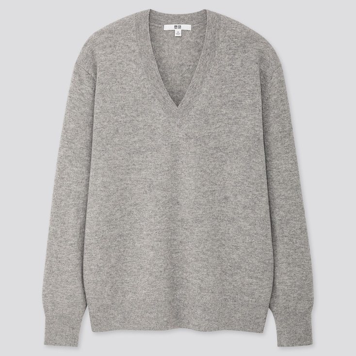 Women Cashmere V-Neck Sweater, Light Gray, Large
