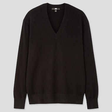 WOMEN CASHMERE V-NECK SWEATER, BLACK, medium